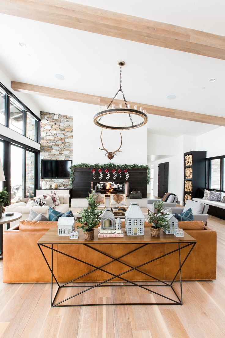 A very mountain home christmas studio mcgee modern and for Very modern living room