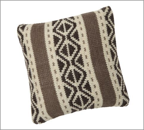 Grey Trevor Fair Isle Knit Pillow Cover | Pottery Barn ...