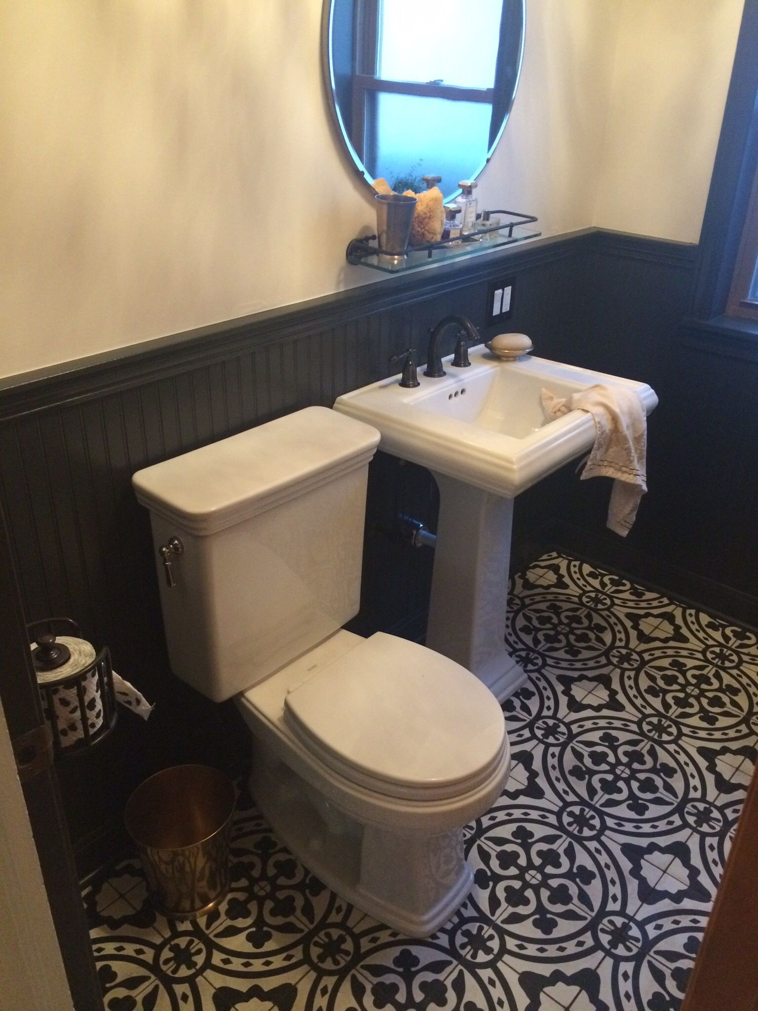 Cement tile shop. Toto toilet. Kohler sink/hardware. Restoration ...