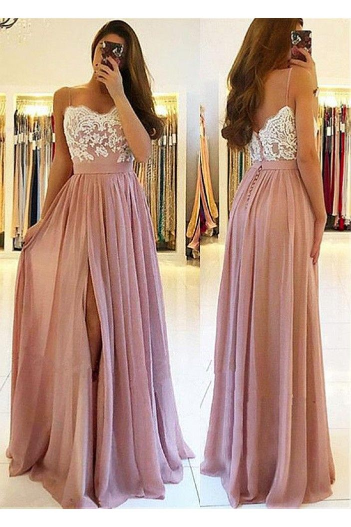 A-Line Lace Chiffon Spaghetti Straps Long Prom Dresses Formal Evening Dresses 601221 #lacechiffon