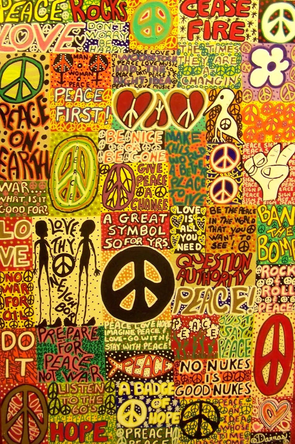 ☯☮ॐ American Hippie Bohemian Psychedelic Art Pattern Wallpaper ~ Peace