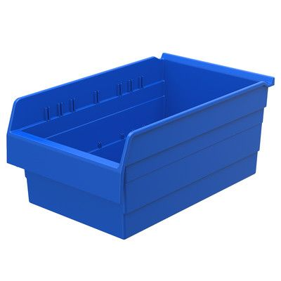 Akro Mils Shelfmax8 Shelf Bin In 8 H X 22 5 W X 15 63 D Set Of 4 Color Blue Products Shelf Bins Shelves Tall Shelves