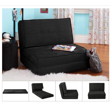 Your Zone Black Flip Chair Available In Multiple Colors Walmart Com Chair Bed Futon Comfy Chairs