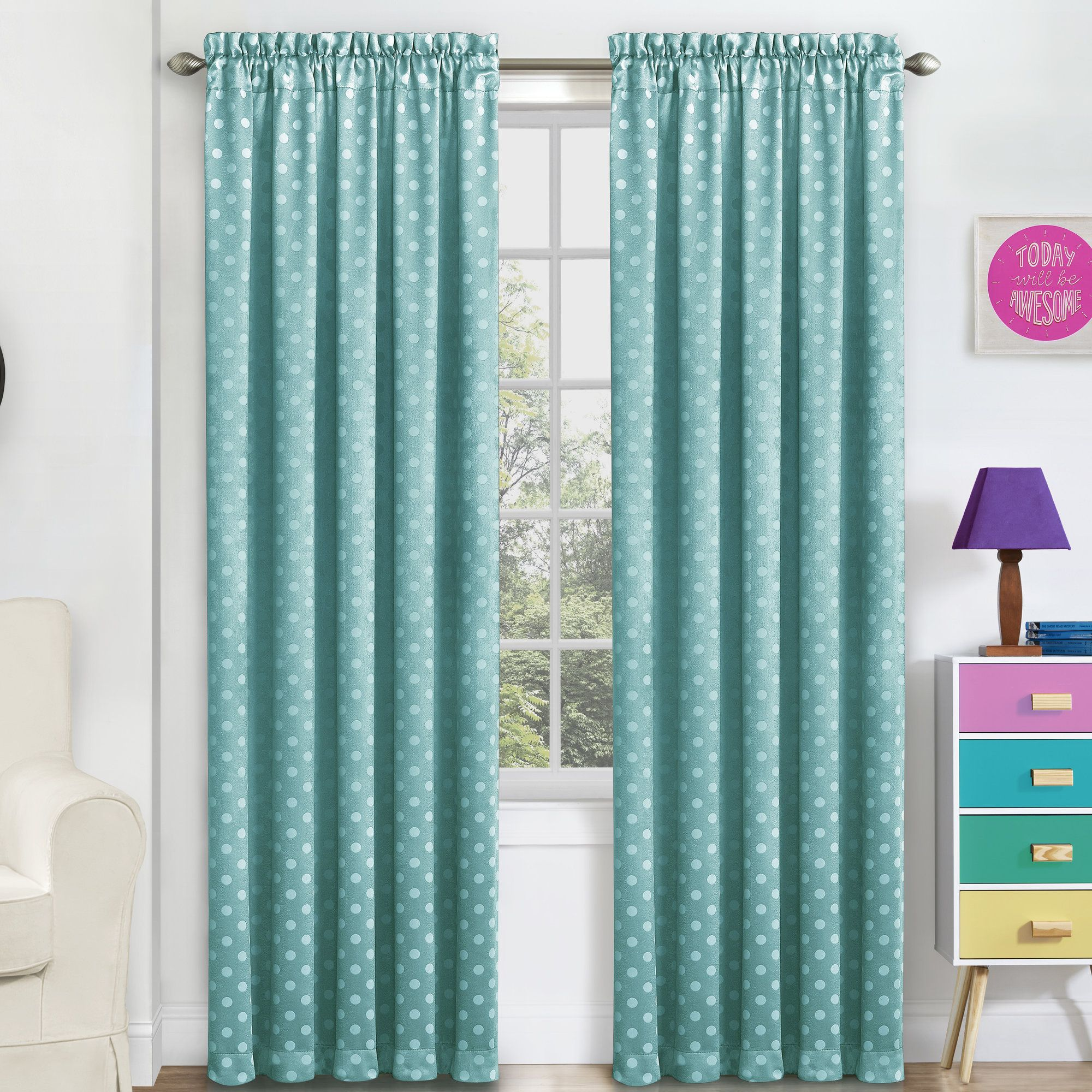 Trevon Polka Dots Blackout Thermal Rod Pocket Single Curtain Panel