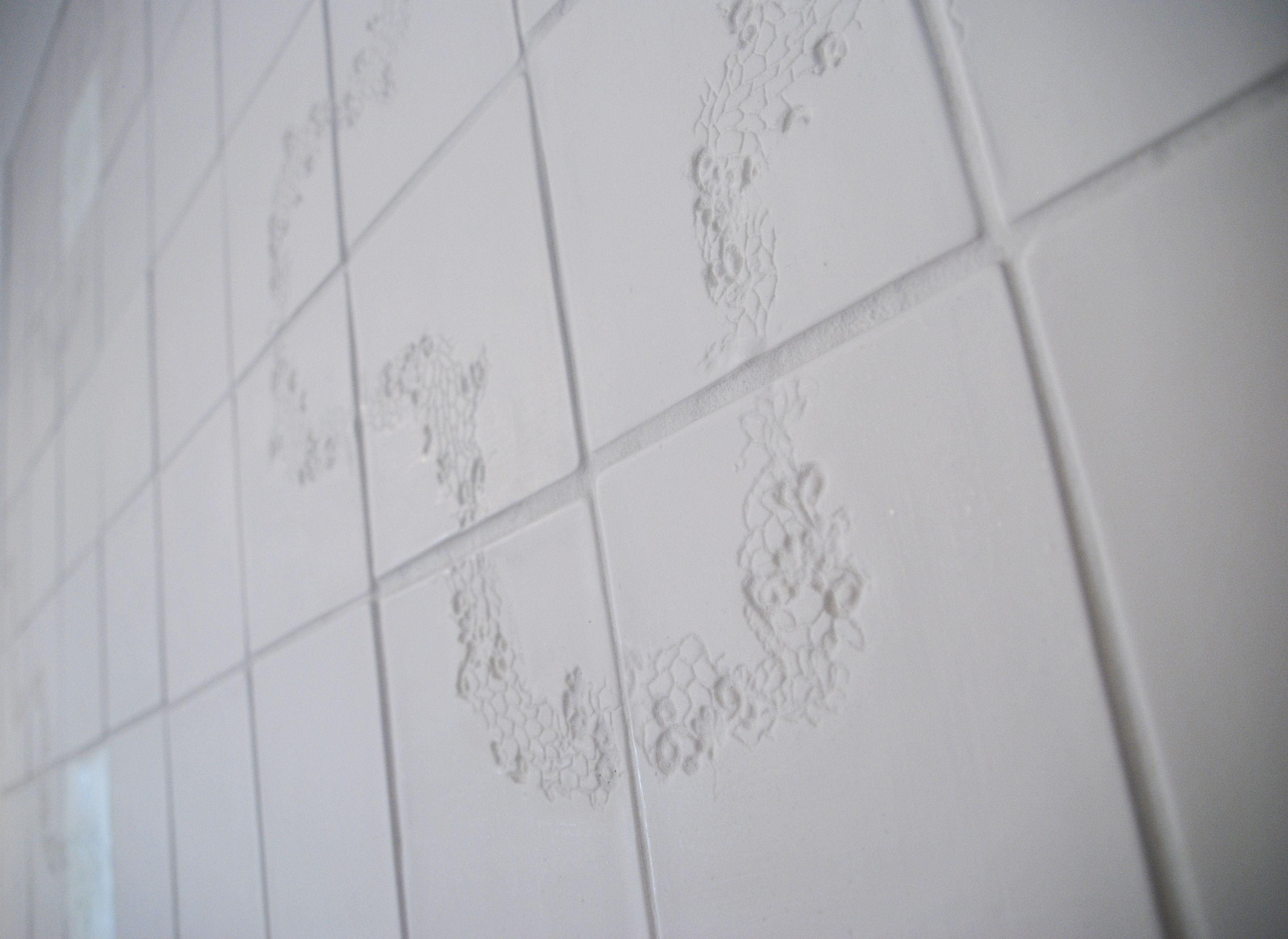 Wall of tex-tiles, two are back lit #tiles #transparant #white ...