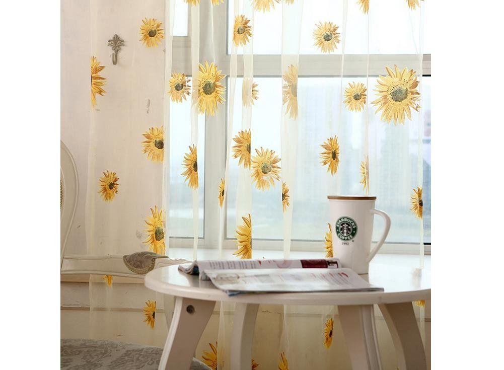 Sheer Curtain Breathable Window Screening Drape Balcony Living Room Window Gauze