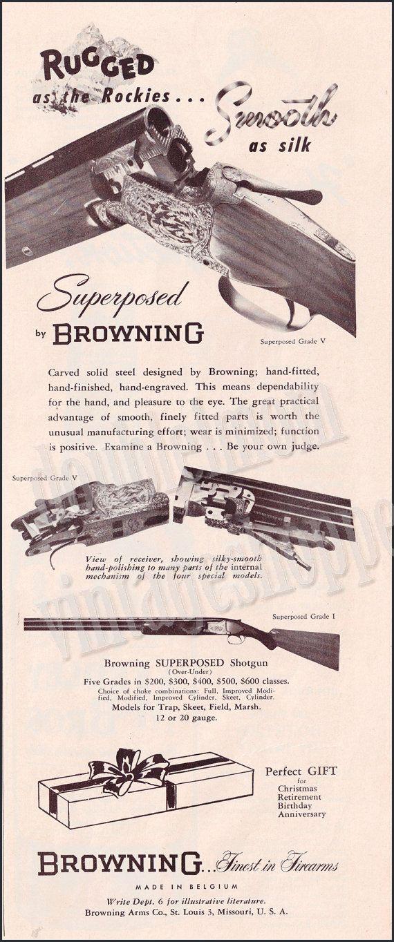 1951 Vintage Browning Superposed Shotgun Ad // Browning