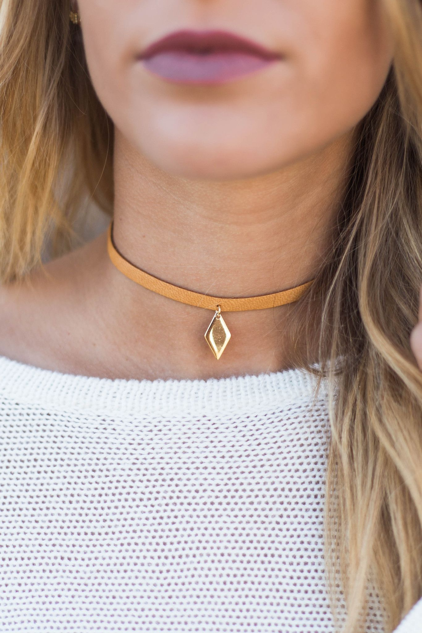 Vanessa Mooney Cut Out Choker in Tan