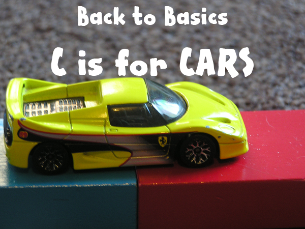 Back to Basics play ideas - c is for cars. Simple play ideas for toddlers and preschoolers that use cars that you can set up and will provide hours of enjoyment