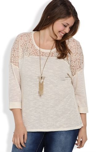 Plus Size Top with Roll Sleeves and Daisy Crochet Front Inset. Debshops.com $27.90