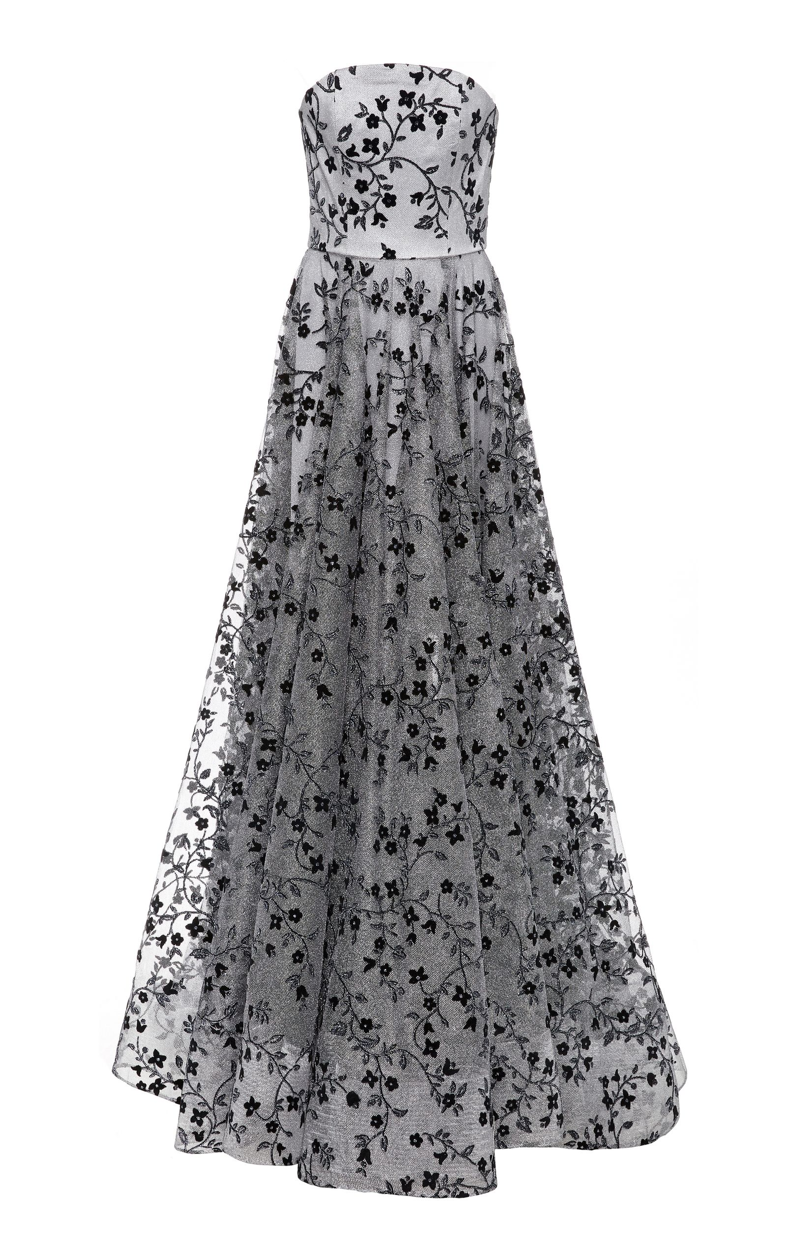 dc81c94beb Floral Metallic Tulle Strapless Gown
