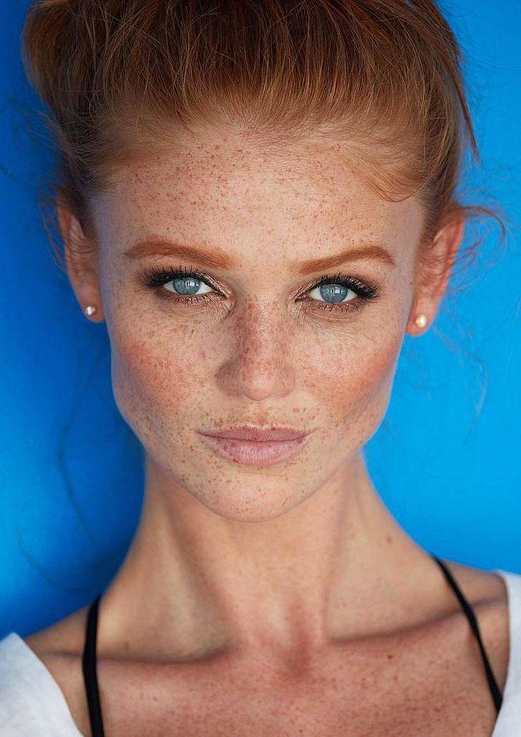A Freckled Green Eyed Redhead W High Cheekbones She S A