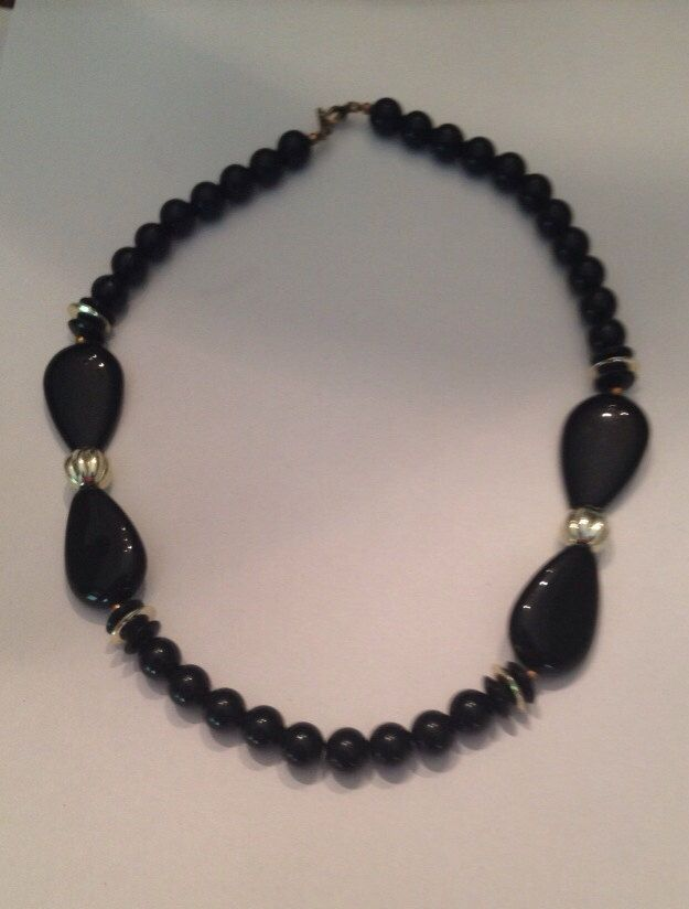 Vintage Black and Gold Bead Necklace Costume Jewelry by