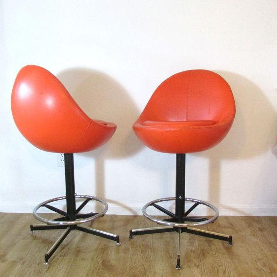 Retro Orange Barstool Pair Egg Shaped Chair Bar Stools
