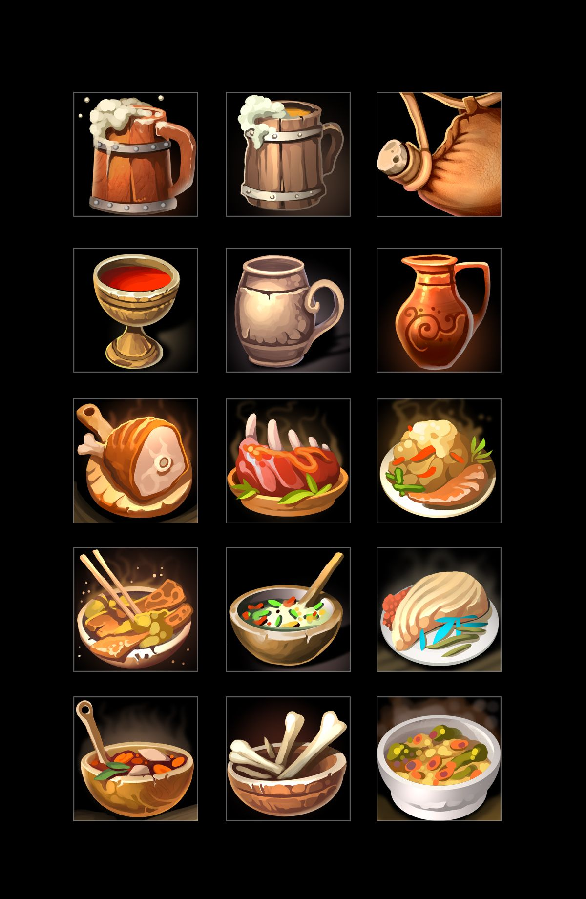 Tavern Icons Food Illustrations Food Drawing Game Icon