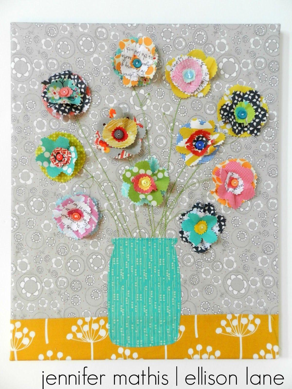 Fabric Flower Wall Art A Tutorial Ellison Lane Fabric Flowers Fabric Crafts Fabric Flower Tutorial