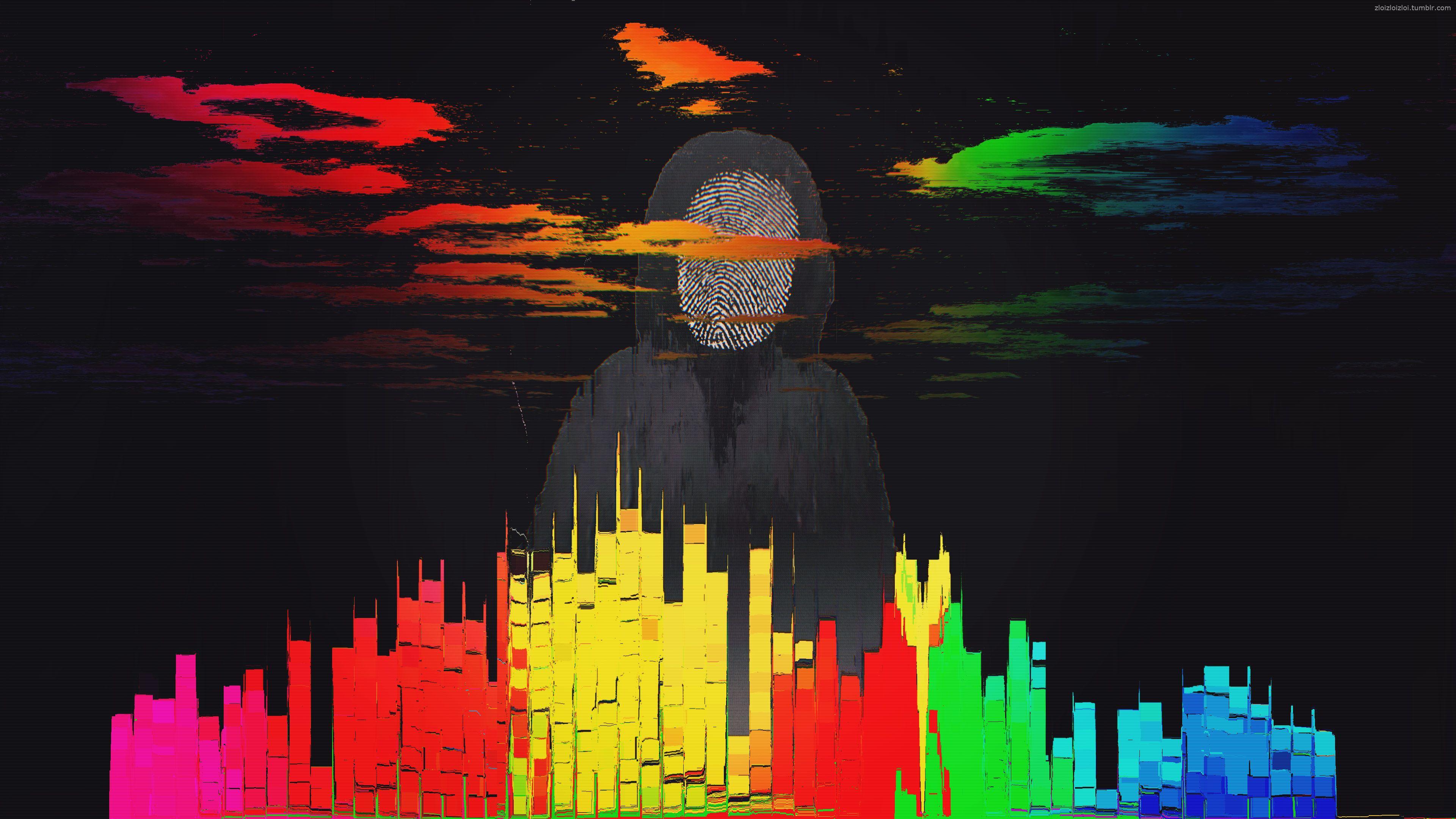 Glitch Art Abstract City Fingerprint 4k Glitch Art Abstract