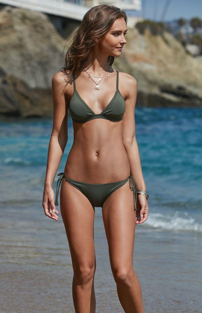 LA Hearts Ribbed Fixed Triangle Bikini Top at PacSun.com   Bikinis, Bikini tops, Swimwear