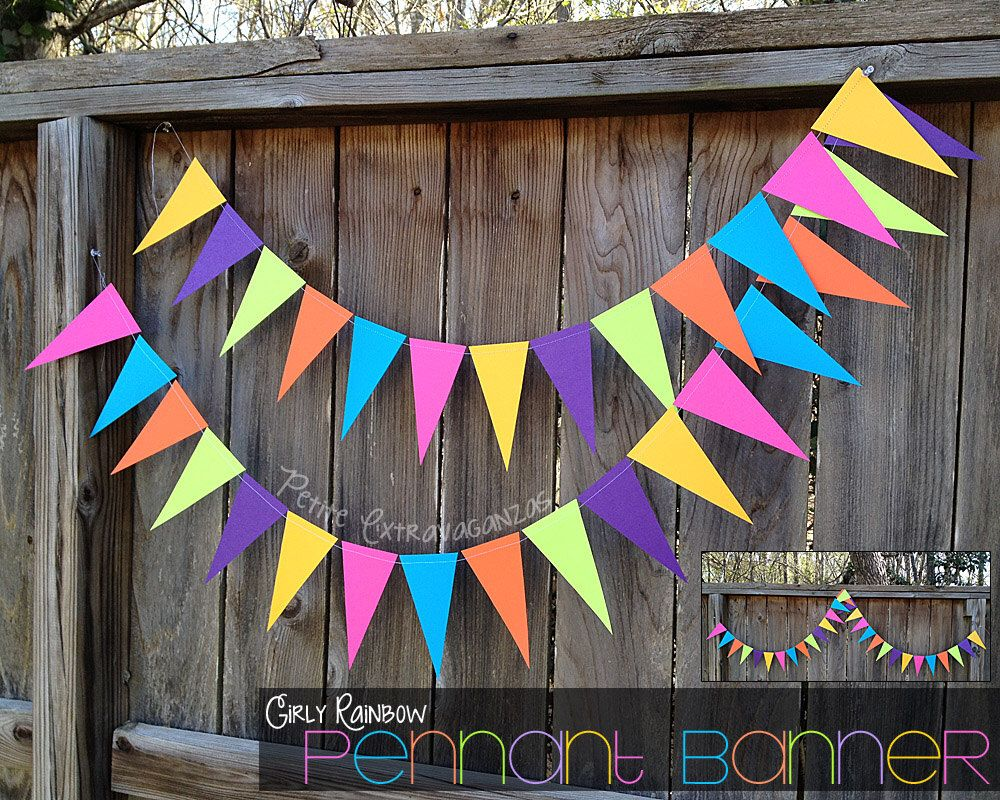 Girly rainbow pennant banner triangle garland bright pink