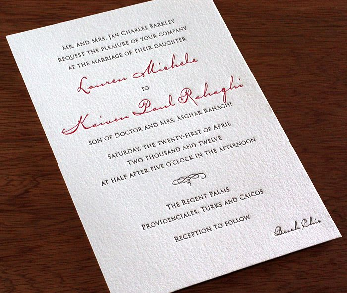 Anne Letterpress Wedding Invitation Elegant Invitati Wedding