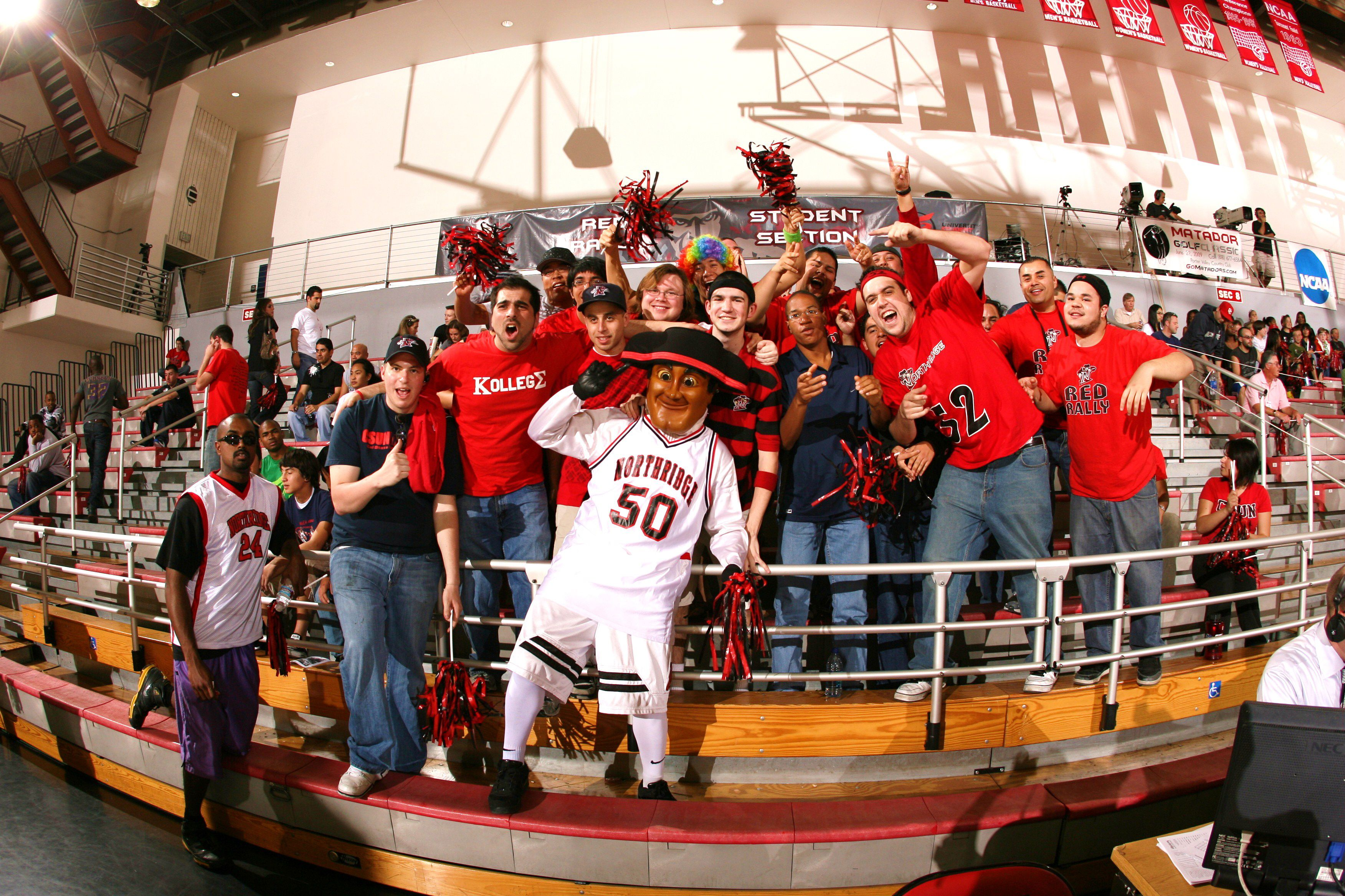 Matty the Matador rallies the crowd as CSUN's official mascot. Go Matadors!