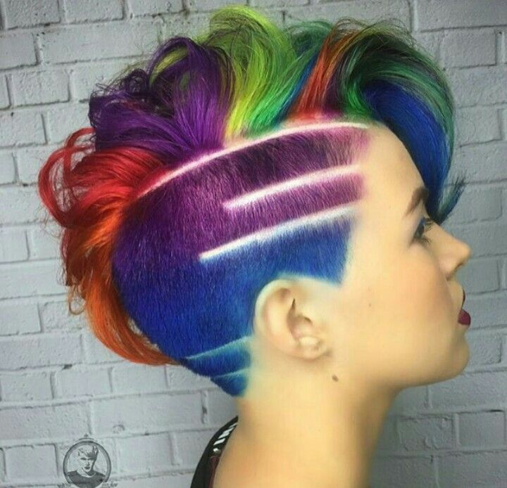Multi Color Pixie Just Awesome By Bottleblonde76 Hair Styles Rainbow Hair Color Hair Colorist