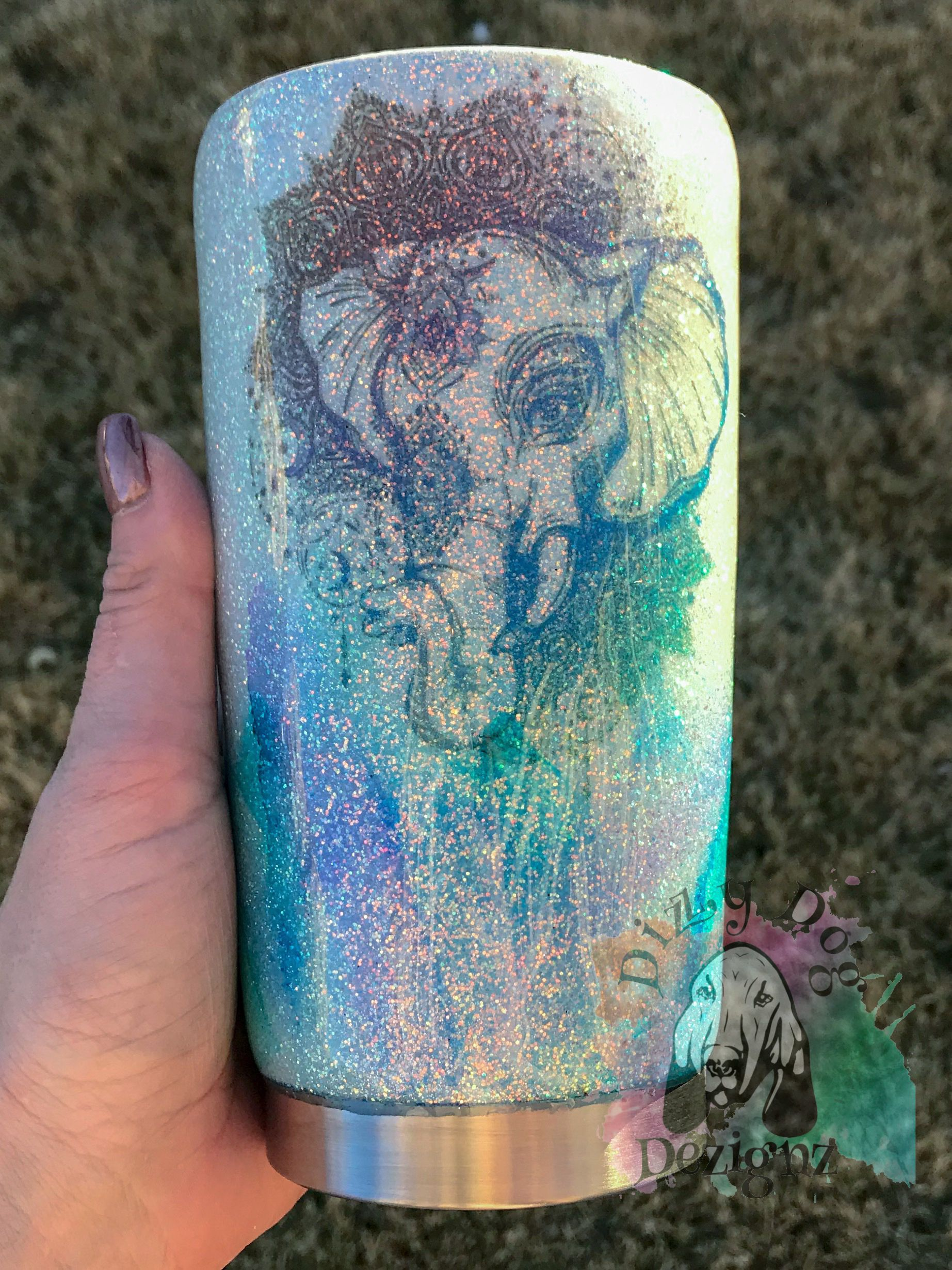 20oz White Glitter With Watercolor And Elephant Tumbler Glitter