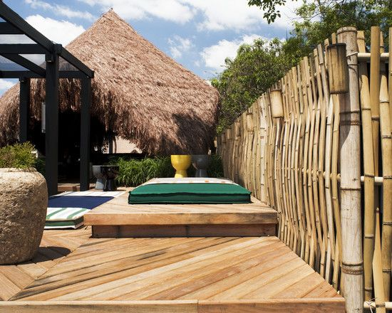 exotic garden design ideas bamboo fence wooden sun deck privacy,