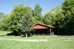 South Fork Park. Grassy fields for games. Restrooms. Electricity. Fire Pits.  Stream with fishing access.