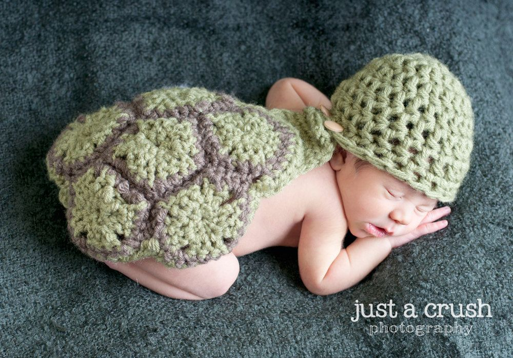Newborn Hat and Cape set  Green Turtle by HatsbyCami on Etsy, $30.00