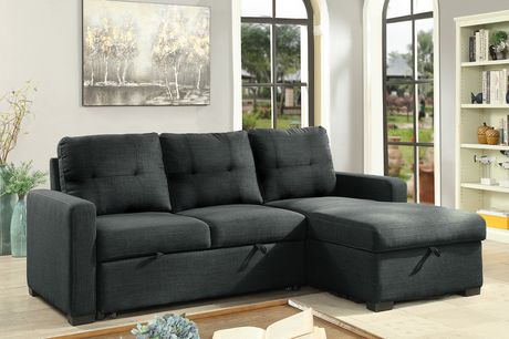 Brassex Inc Bentley Sectional With Pull Out Bed Storage Chaise Grey Grey Grey Sectional Sofa Sectional Sofa Sectional Sleeper Sofa