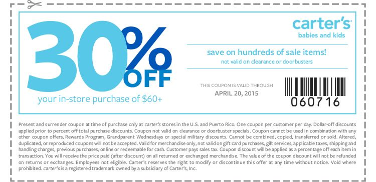 Pinned April 18th 30 Off 60 At Carters Coupon Via The Coupons