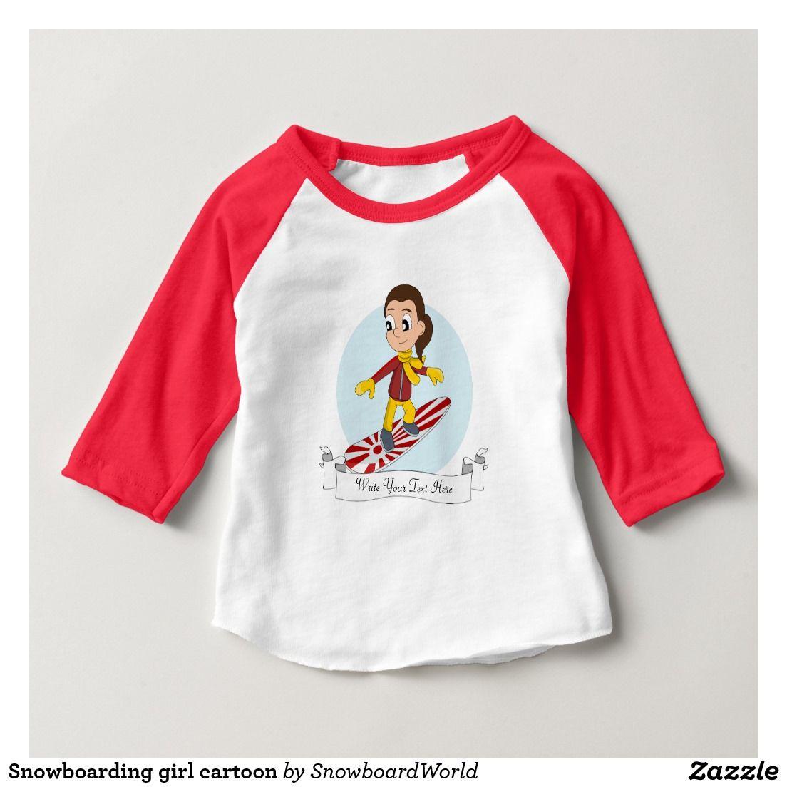 a970bec0677b Snowboarding girl cartoon tshirts