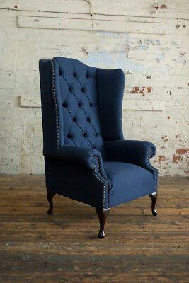 Details About Handmade Navy Blue Herringbone Wool