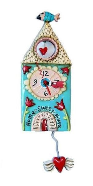 Home Sweet Home is an original design from Michelle Allen Designs Whimsical wall clock made from hand painted resin Requires AA battery not included