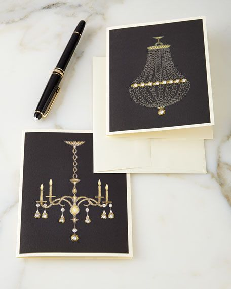 """Chic Chandelier Collection Notes. Hand embellished with Swarovski® crystals. Cards are blank inside. Set includes eight cards, four of each design shown, and eight envelopes. 4.25"""" x 5.5"""". #horchow"""