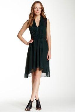 Leather Inset Silk Chiffon Dress