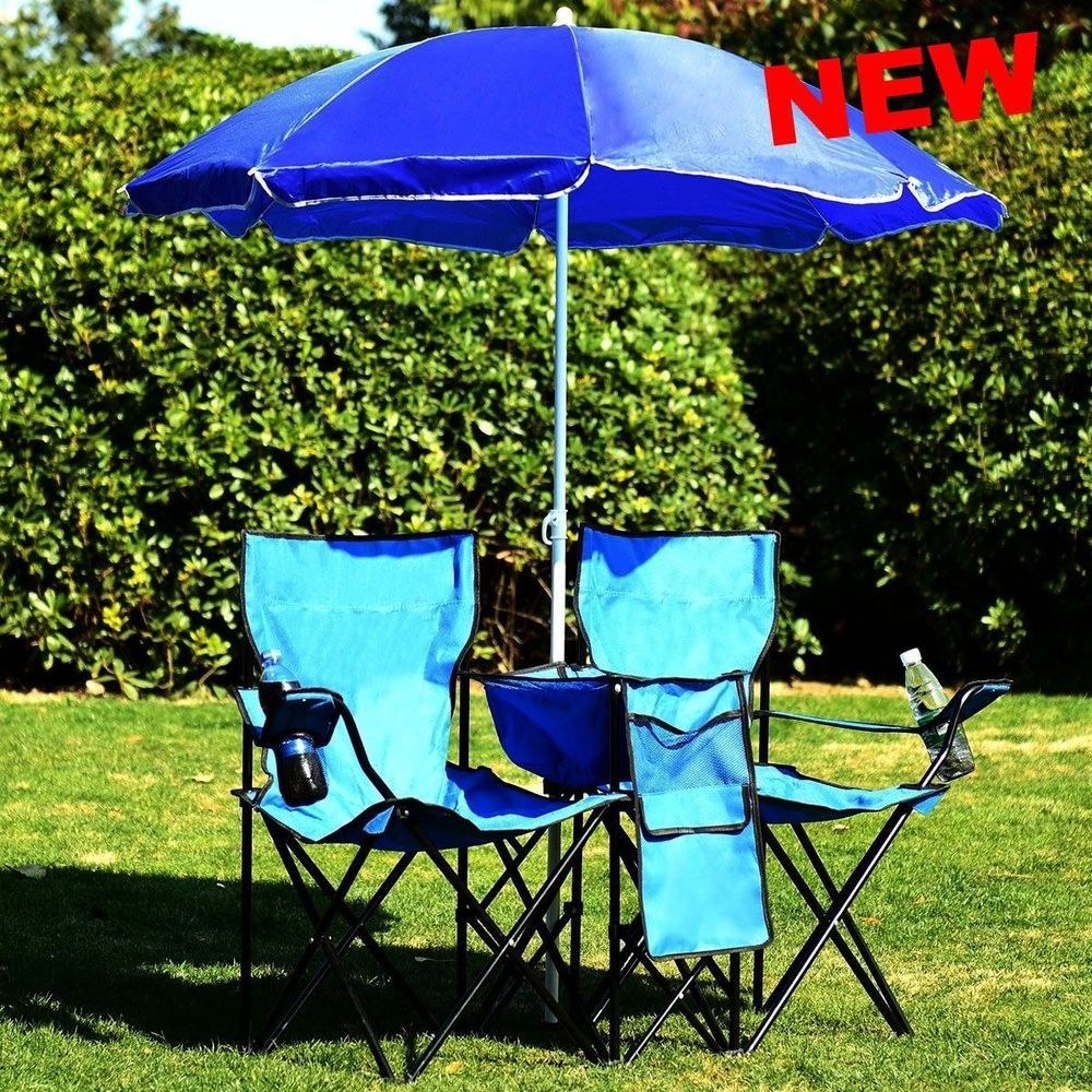 Beach Double Chair Umbrella Set Fishing Portable Folding