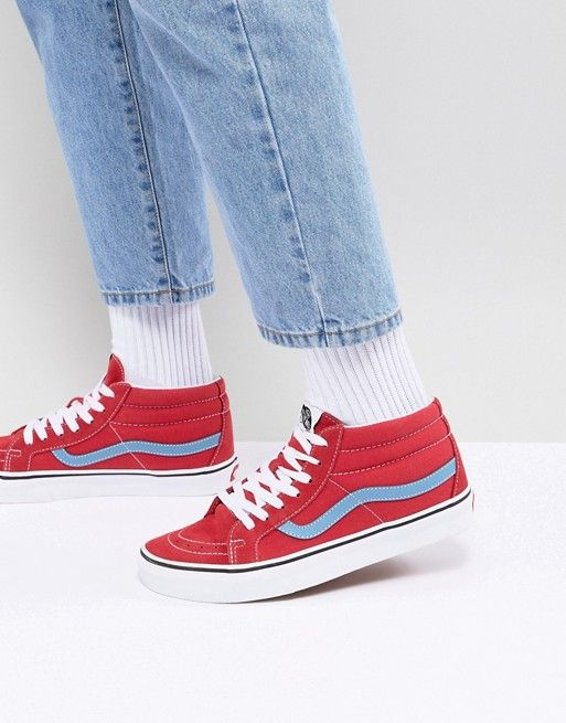 e09b39d82c Vans SK8-Mid Reissue Trainers In Red VA3MV8Q8C