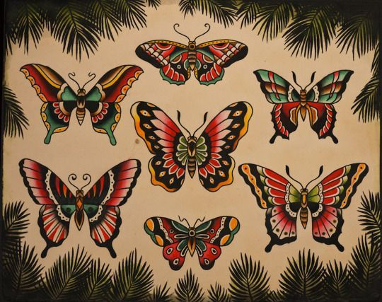 Traditional Butterfly Tattoo Flash: Traditional Moth Tattoo And