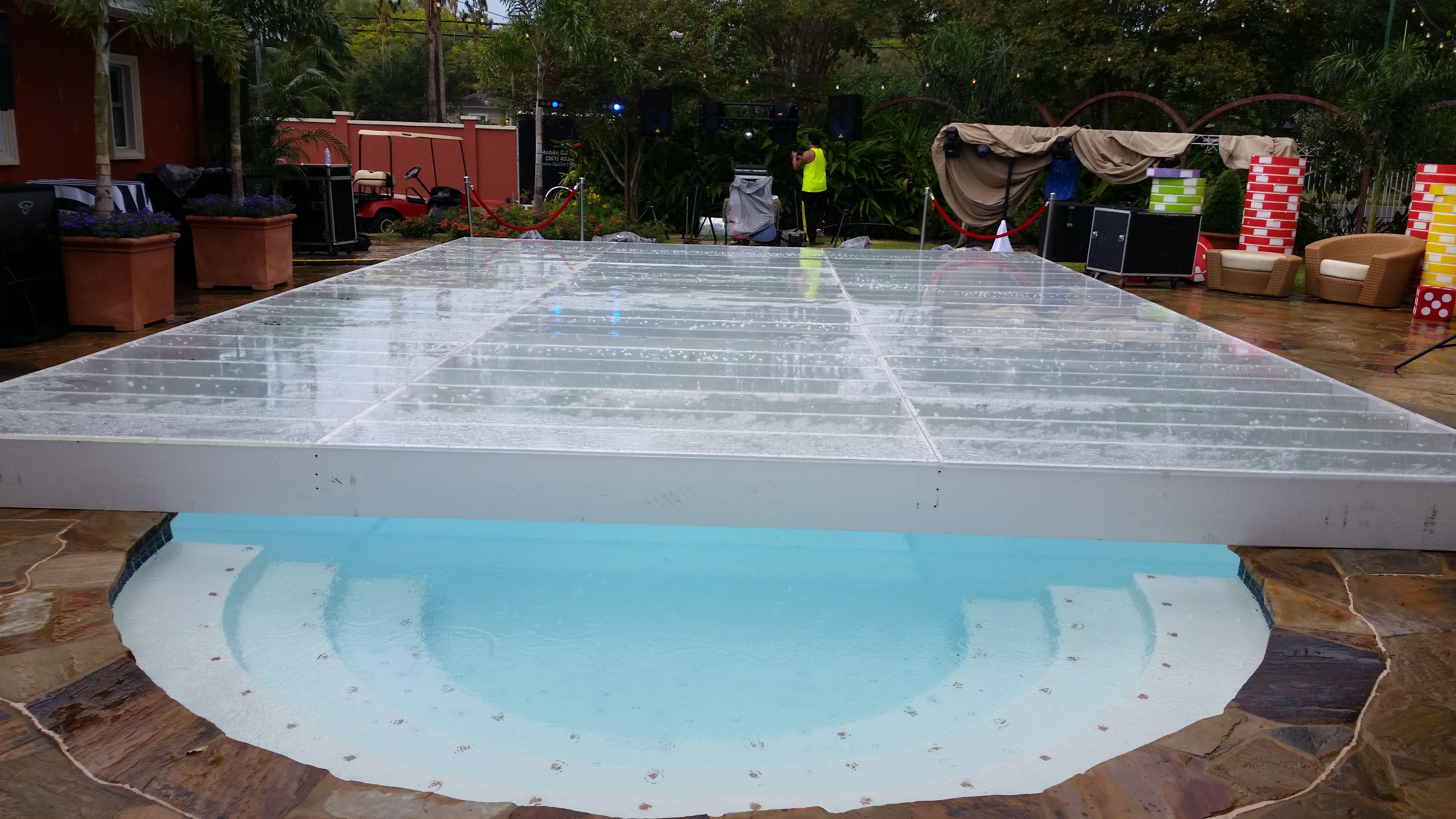 custom built dance floor over swimming pool dance floors