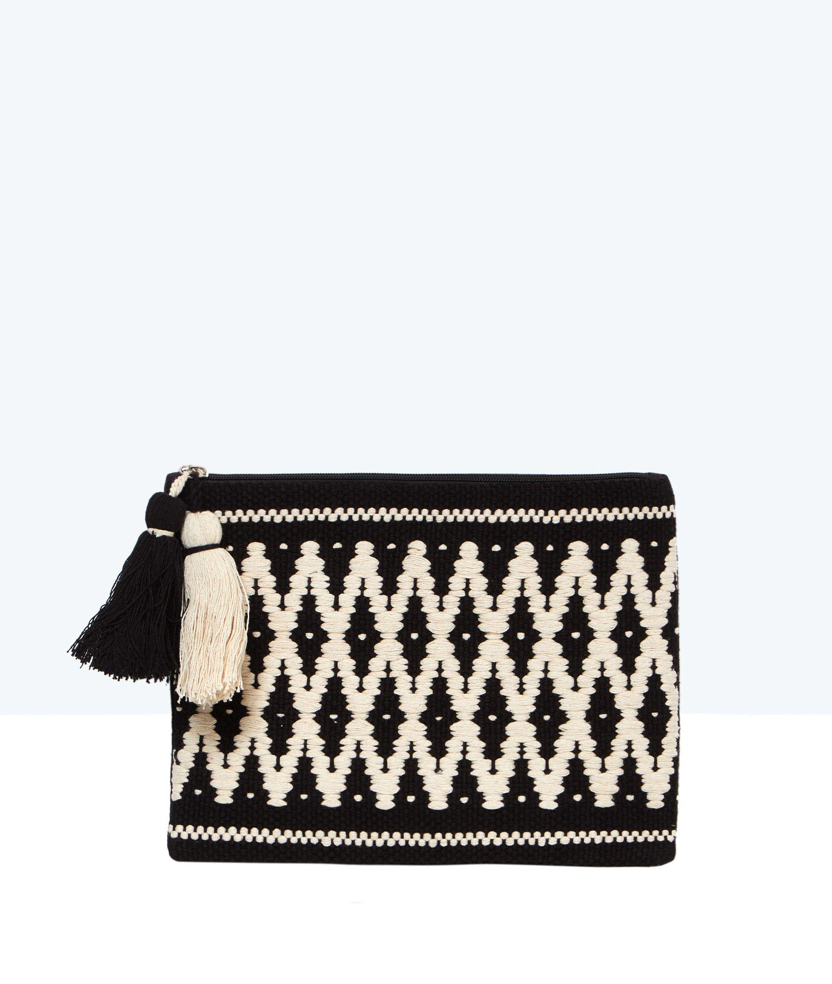 nouveau style 4985b 73360 Pochette brodée aztèque à pompons - MELOE - NOIR - Etam ...
