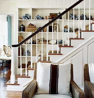 This Staircase Gets Big Personality With Built In Shelves And Interesting  Art Objects.