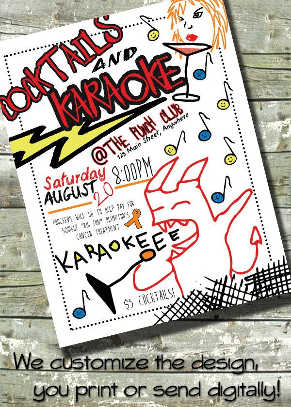 PUNK FLYER ~ Cocktails and Karaoke Event ~ Customizable Digital ...