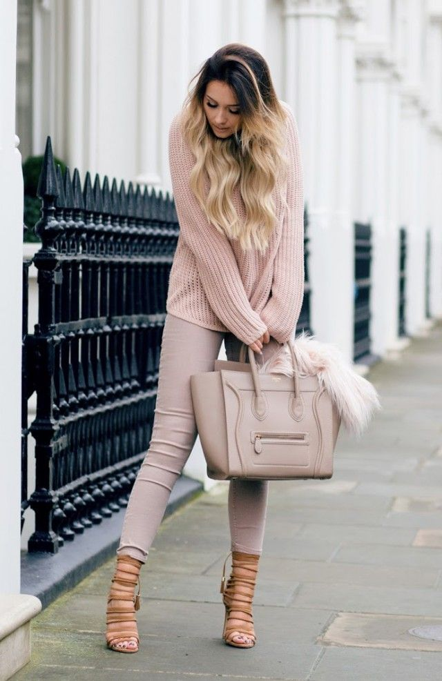 680ceb7486d Sarah Ashcroft is absolutely working the nude trend in this pale pink  matching sweater and jeans combination. Don t ever be afraid to be bold in  a block ...