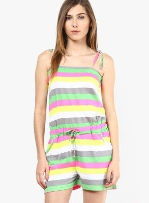 d54e35f1b318 Only Striped Women s Jumpsuit - Buy White Only Striped Women s Jumpsuit  Online at Best Prices in India
