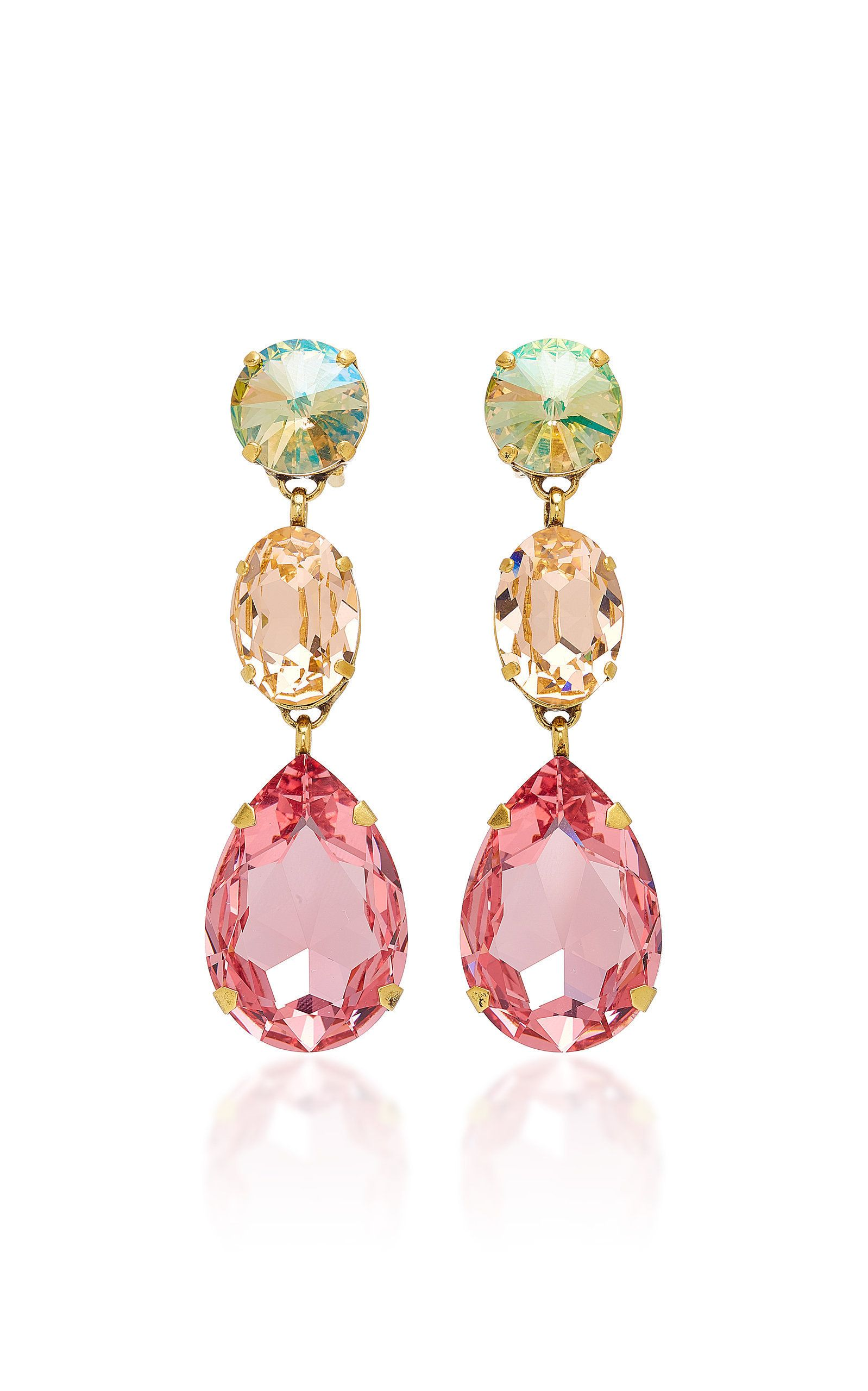 Roxanne Assoulin Hip Hop But Not Gold-tone Swarovski Crystal Clip Earrings - Pink