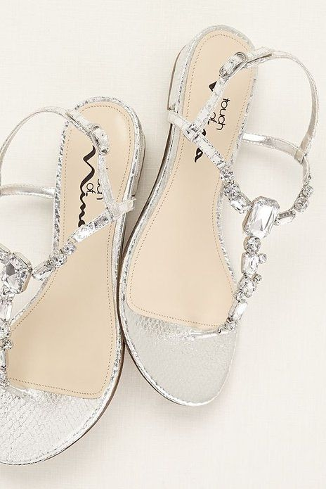 3d3dc2e6d0ab8 Amazon.com | Touch of Nina Multi Stone T-strap Metallic Sandal Style ...