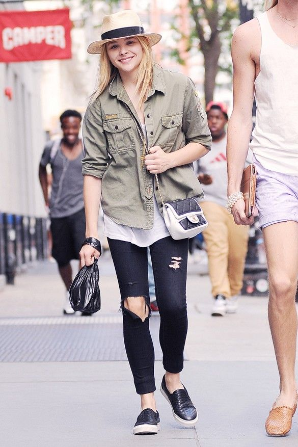 cb2e6a908be2 Chloe Grace Moretz wears her skinnies with a slip-on black sneaker      CelebrityStyle