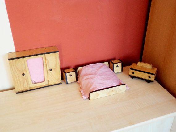 Vintage Bedroom Furniture for Dollhouse Bedroom Set Wooden 1960s